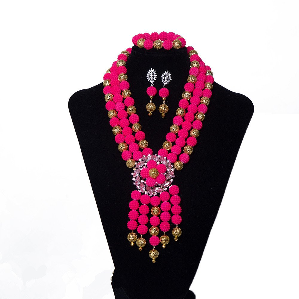 AMYNOVA 3 Rows Pink Wedding Crystal Necklace Fine Jewelry Sets Party Women African Beads Bridal Set