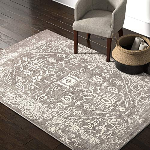 Rivet Charcoal Distressed Medallion Area Rug, 5 x 7 Foot