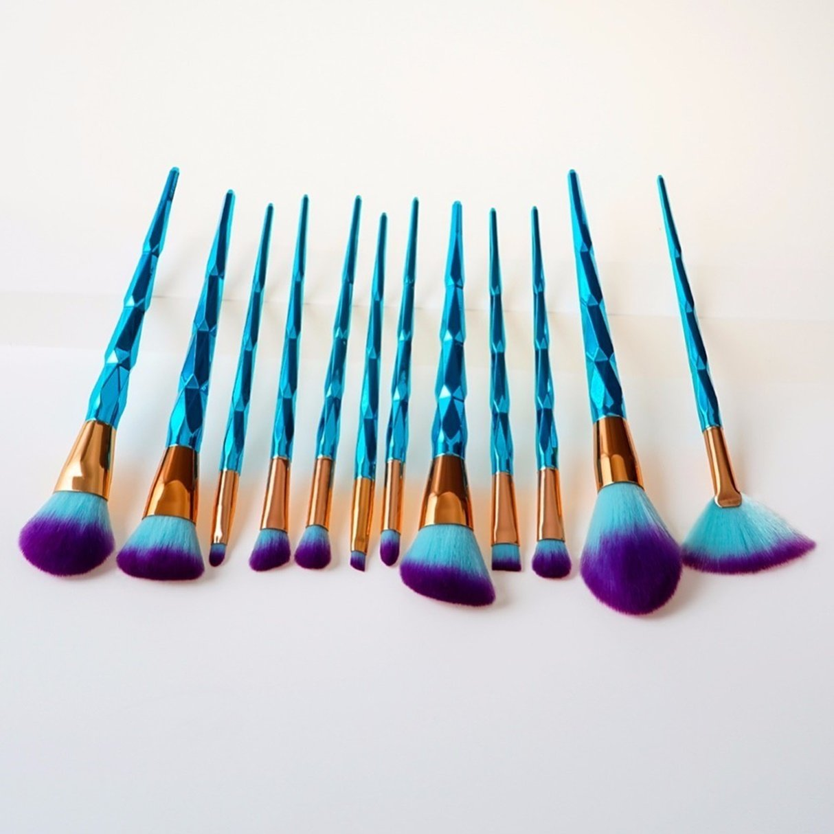 12 Piece Unicorn Diamond Rainbow Makeup Brushes Set Make Up Tools Foundation Natural Beauty Palette Eyeshadow Vanity Deluxe Popular Eyes Faced Colorful Hair Highlights Glitter Kids Travel Kit, Type-03