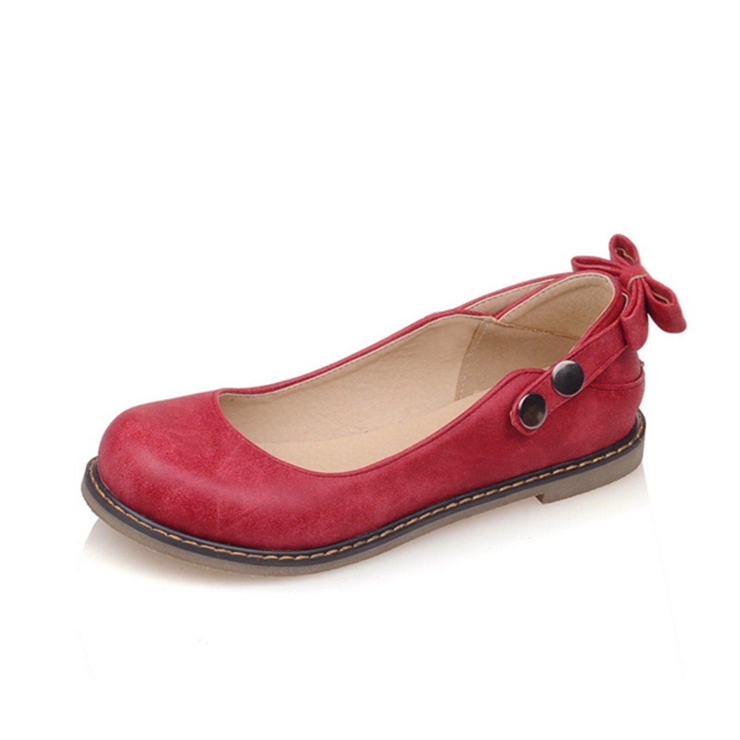 Feilongzaitianba Butterfly Knot Straps Button Rivets Round Toe Lady Cute Flats Shoes Woman Summer Spring Casual Ql6650