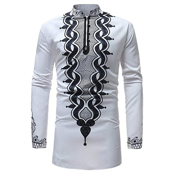 6d65071c7 BUSIM Men's Long Sleeved Shirt Autumn Winter Luxury African Style Ethnic  Style Printed Zipper High Collar
