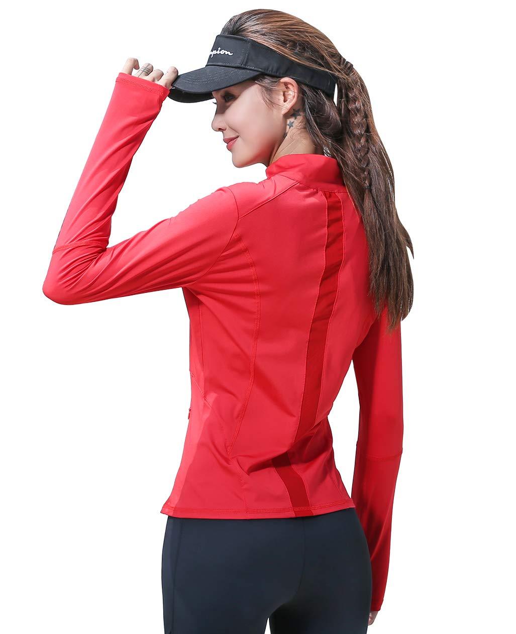 UDIY Women's Lightweight Yoga Running Training Full Zip Mesh Slim Fit Active Jacket, Red, Small