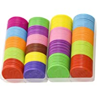 TOYANDONA 2 Boxes Small Plastic Learning Counters Disks Bingo Chip Counting Discs Markers for Texas Holdem Blackjack…