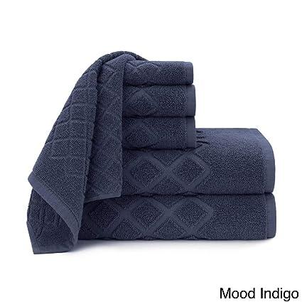 Juego de 6 toallas de jacquard azules UK4, diseño de indigo diamante, toallas de