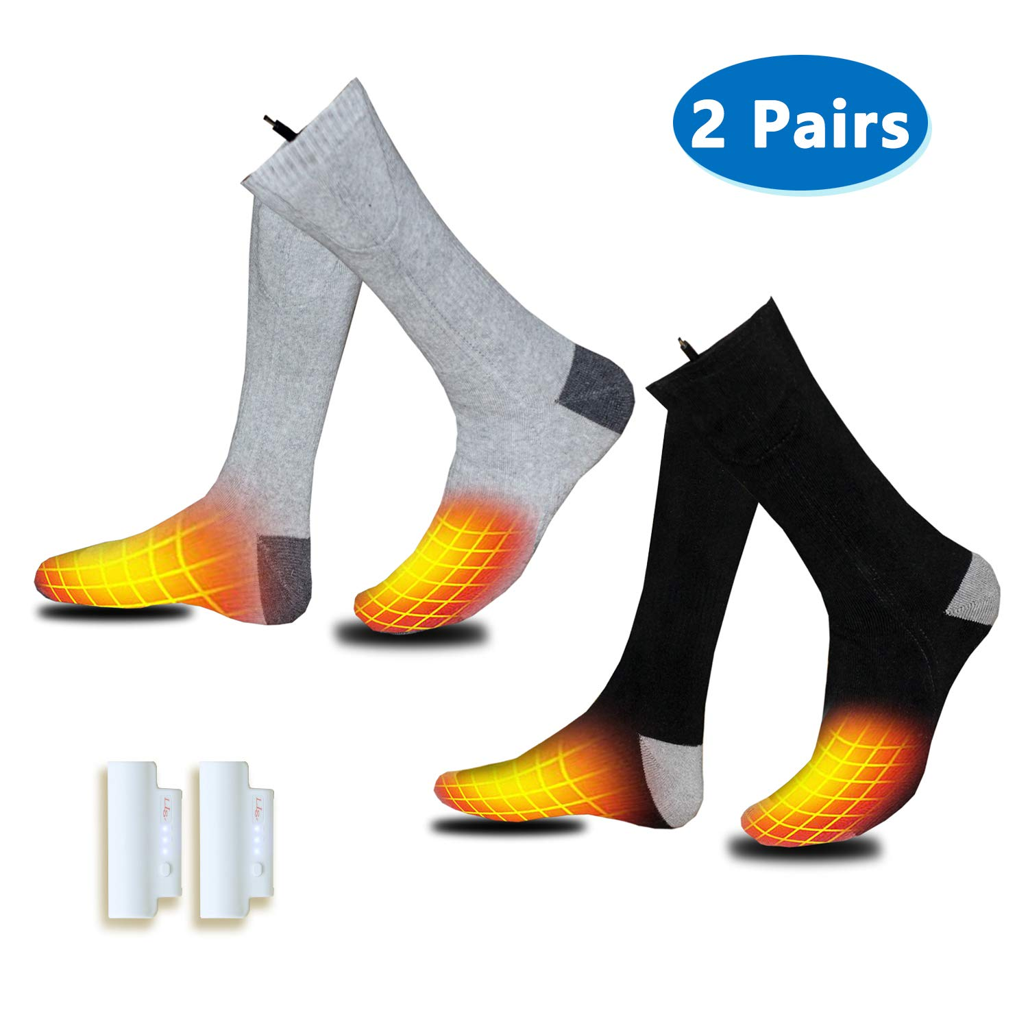 Heated Socks, 2 Pairs Electrice Sock Footwear with Pair Rehargeable Lithium Battery Cotton Heated Socks Keep Forefoot and Toes Warm Heating Times Last 5-9 Hours Suitable for Winter Outdoor Hunting by VALLEYWIND