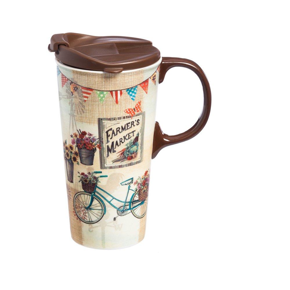 Cypress Home Farmer's Market Ceramic Travel Coffee Mug, 17 ounces