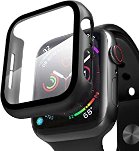 ZXK CO Compatible Apple Watch Case 44mm Series 6/5/4/SE with Screen Protector, Overall Full Protective Hard PC Bumper Case Ultra-Thin HD Glass Screen Protector for iWatch Series 4 5 6 SE (44mm)