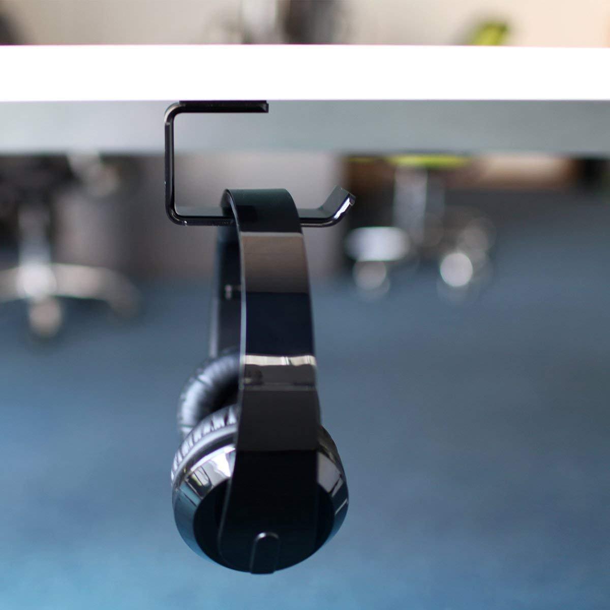 Headphone Stand Hanger, MOYTAICOO Acrylic Under Desk Headset Holder Mount Hook Hanger for Gaming Headphone Earphone, Black
