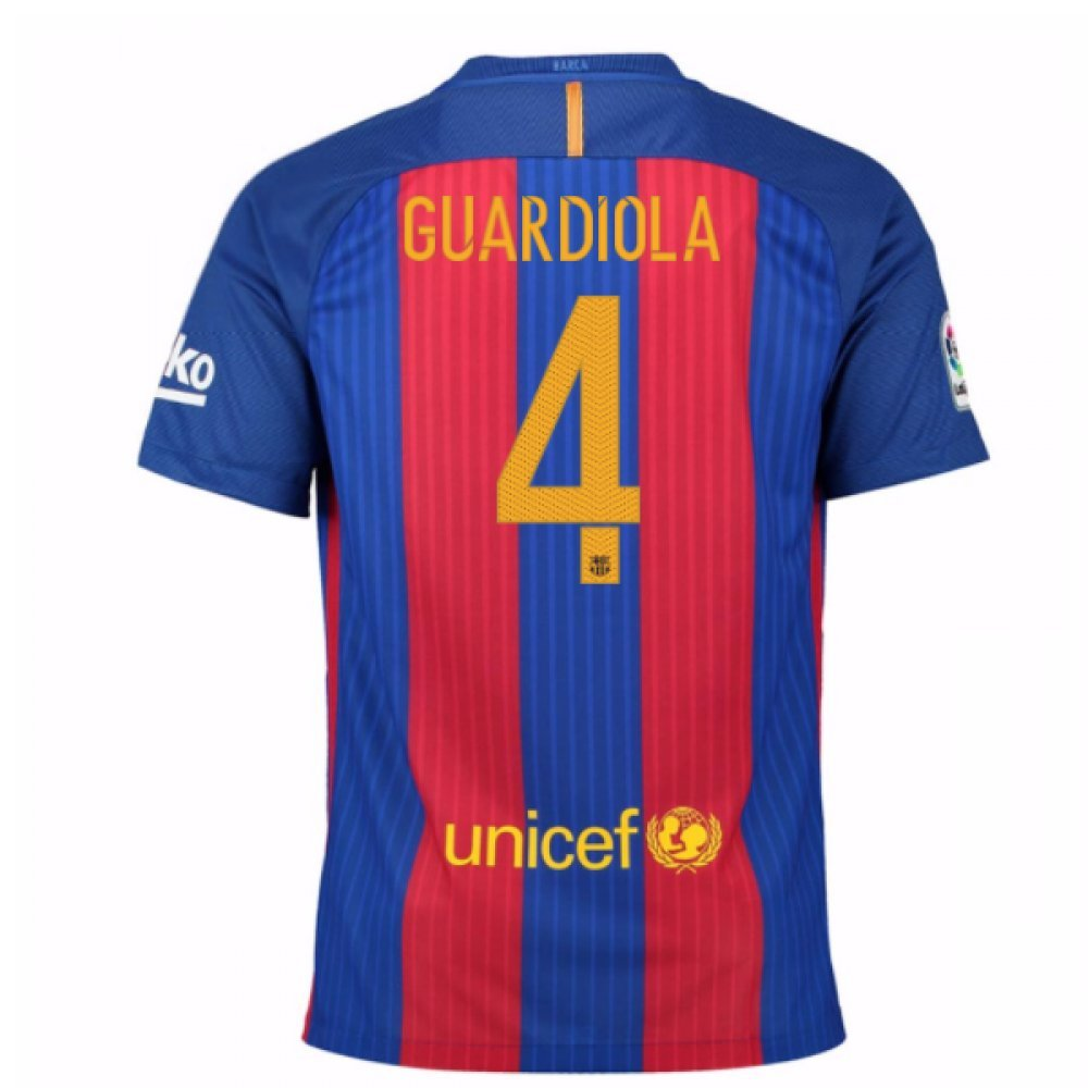 2016-17 Barcelona SponsoROT Home Football Soccer T-Shirt Trikot (PEP Guardiola 4)
