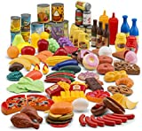 JaxoJoy 122-Piece Deluxe Pretend Play Food Set Beautiful Toy Food Assortment