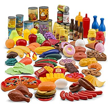 460d52bf621a JaxoJoy 122-Piece Deluxe Pretend Play Food Set Beautiful Toy Food Assortment