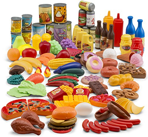 Fake Plastic Food (JaxoJoy 122-Piece Deluxe Pretend Play Food Set Beautiful Toy Food Assortment)