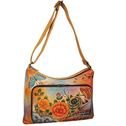 Image Unavailable. Image not available for. Color  Anuschka Genuine Leather  Hand Painted Twin-Top East-West Organizer ... 048618e372d90