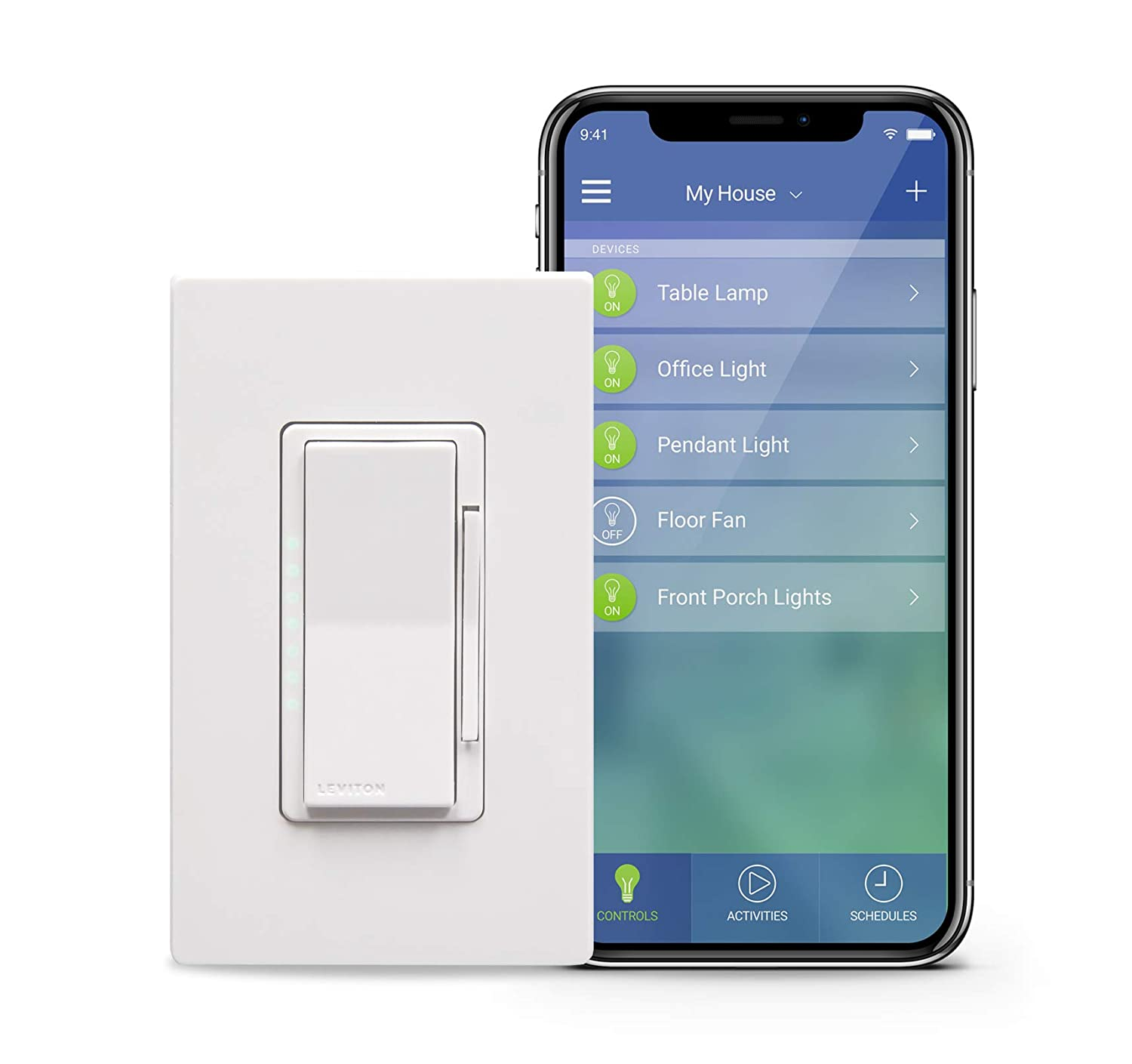 Leviton Dw6hd 1bz Decora Smart Wi Fi 600w Incandescent 300w Led Three Way Switch Wiring Diagram Problems Dimmer No Hub Required Works With Alexa Google Assistant And Nest