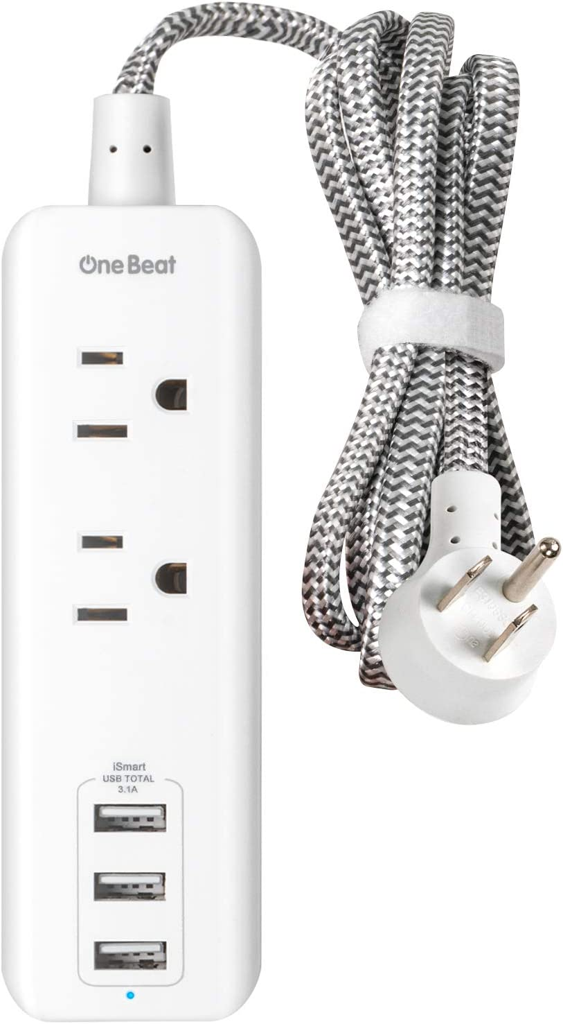 Power Strip with 2 Outlets and 3 USB Charging Ports(3.1A, 15W), Desktop Charging Station with 5 ft Braided Extension Cord, Flat Plug Travel Power Strip for Hotel, Cruise Ship, Home and Office, White