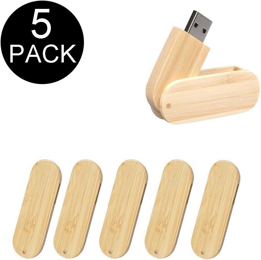 yaxiny 5 Pack bambú madera de rotación 2.0/3.0 USB unidad Flash ...