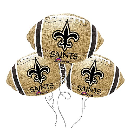 New Orleans Saints NFL Football Mylar Balloon - 3 Pack