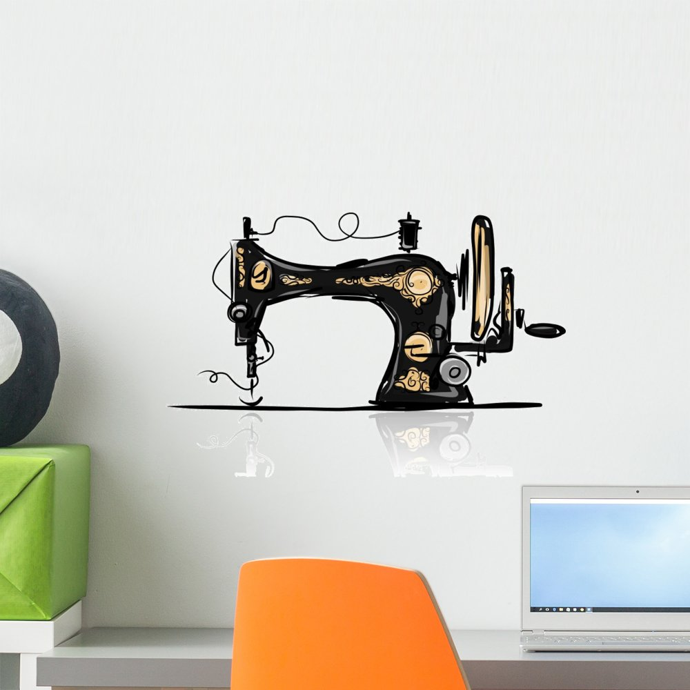 Wallmonkeys Sewing Machine Retro Sketch Wall Decal Peel and Stick Graphic (18 in H x 18 in W) WM269474