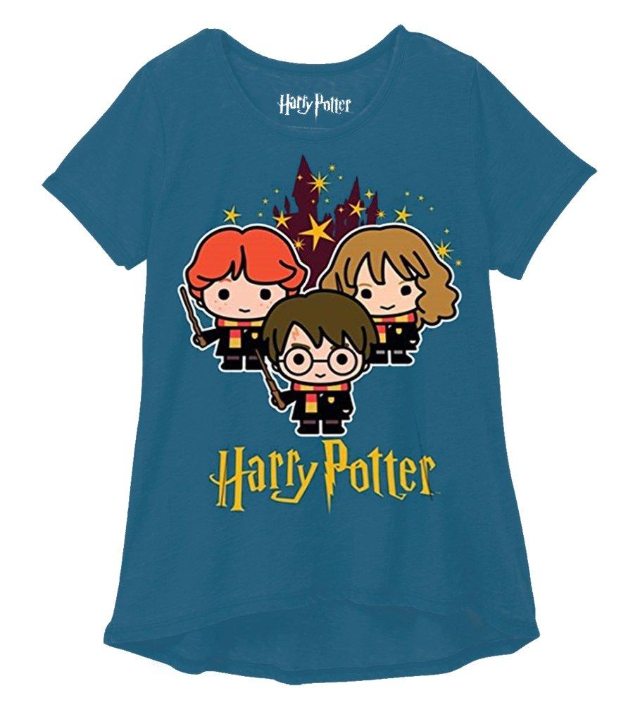 Harry Potter Youth Girls Fashion Top Hogwarts Stars Blue Green (Large)