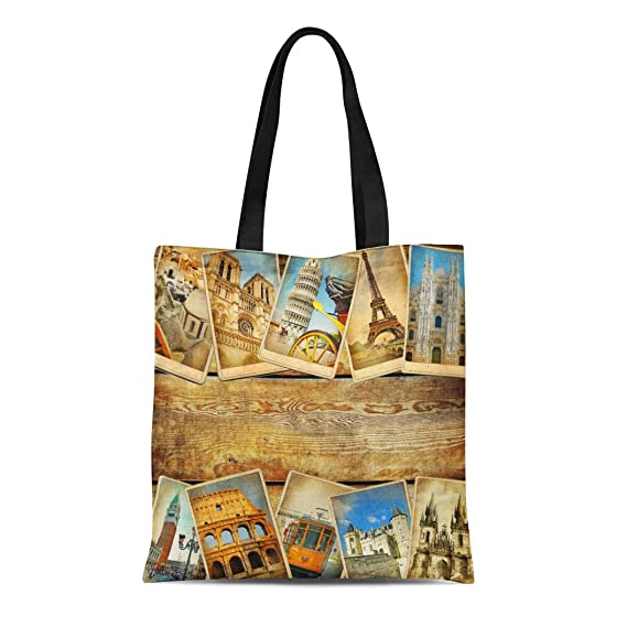be5878fa38ce Amazon.com: Semtomn Canvas Tote Bag Europe Vintage Collage Place ...