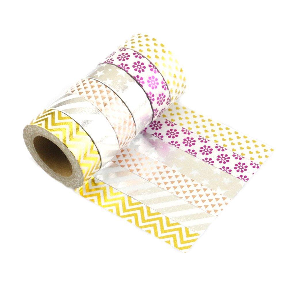 lot de 6 bandes adh sives ruban tape washi masking scrapbooking decorative noel cadeau. Black Bedroom Furniture Sets. Home Design Ideas