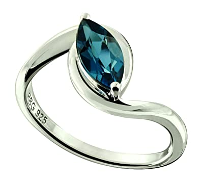 c9b51faf5a8c0 RB Gems Sterling Silver 925 Ring Genuine GEMS Marquise 10x5 mm, 1.20 Cts  Rhodium-Plated Finish