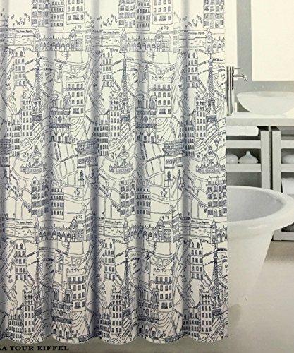 Max Studio Painted Paris Fabric Shower Curtain in Black &