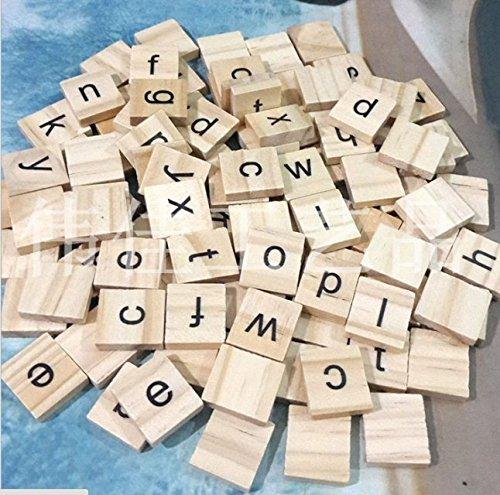 pour travaux manuels bois 100 Lettres de lalphabet en bois Ricisung de type scrabble avec lettres et chiffres en noir Capital