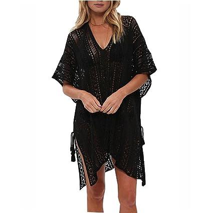 a89bb3c6e3 YJYdada Women Bathing Beach Cover Up Dress Bikini Swimsuit Swimwear Crochet  Smock (Black)