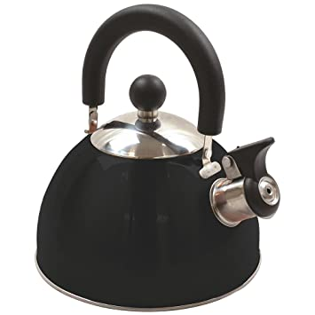 Highlander 2litre Deluxe Whistling Kettle Orange Black Camping Caravan