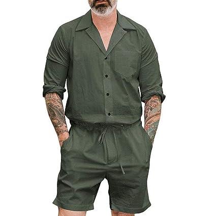 379505706bb54 2Pcs Men s Tracksuit Summer Fashion Pure-Colour Large Size Clothes Button  Jumpsuit (Army Green