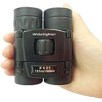 WideSighter 8x21 Folding Roof Prism Compact Binoculars Mini Pocket Lightweigh Binoculars for Outdoor Sightseeing Travel Hiking Bird Watching Concert Adults Kids 1Pack