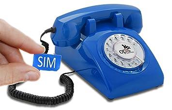 OPIS 60s Mobile: móvil de sobremesa/teléfono Fijo con sim/teléfono móvil para Mayores/teléfono Retro móvil con Disco de marcar (Azul)