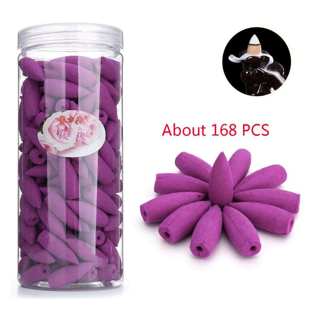 168PCS misti Backflow coni di incenso di sandalo aromaterapia incenso tibetano Tower cone profumazioni naturali profumo per Backflow incense Burner Holder Lavender