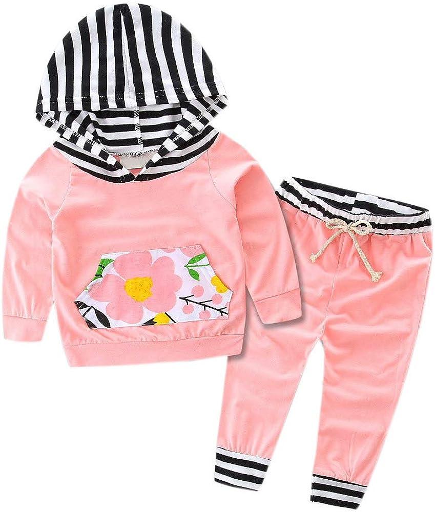 PinkLu Traje con Capucha De Flores para NiñOs Ropa Infantil para NiñA Bebé NiñO con Capucha Tops De Rayas Florales Y Trajes De 2 Piezas: Amazon.es: Ropa y accesorios