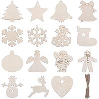 Tomaibaby 120 Stks Kerst Opknoping Ornamenten Boom Opknoping Decoratie Hout Plak Kerst Houten Hanger Voor Kinderen…
