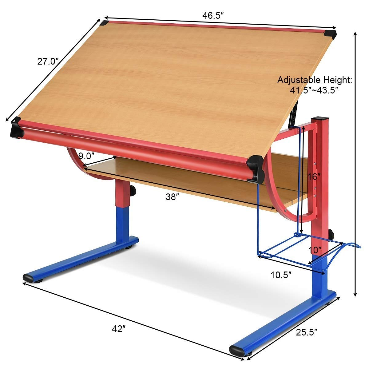 Zwan Adjustable Wooden Drafting Table Workstation Drawing Desk with Ebook