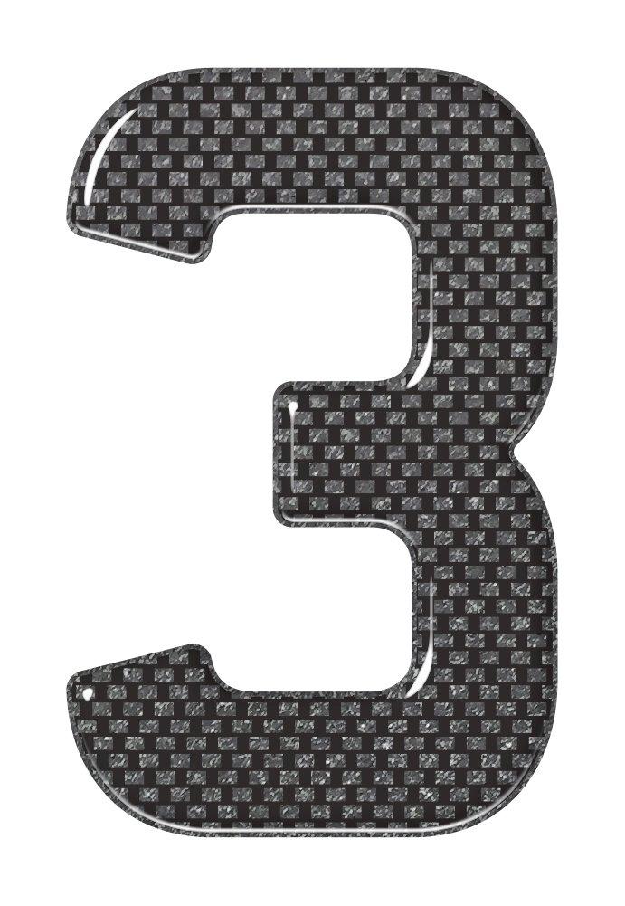 3D Resin//Gel Domed Self Adhesive Number Plate Number 3 Black