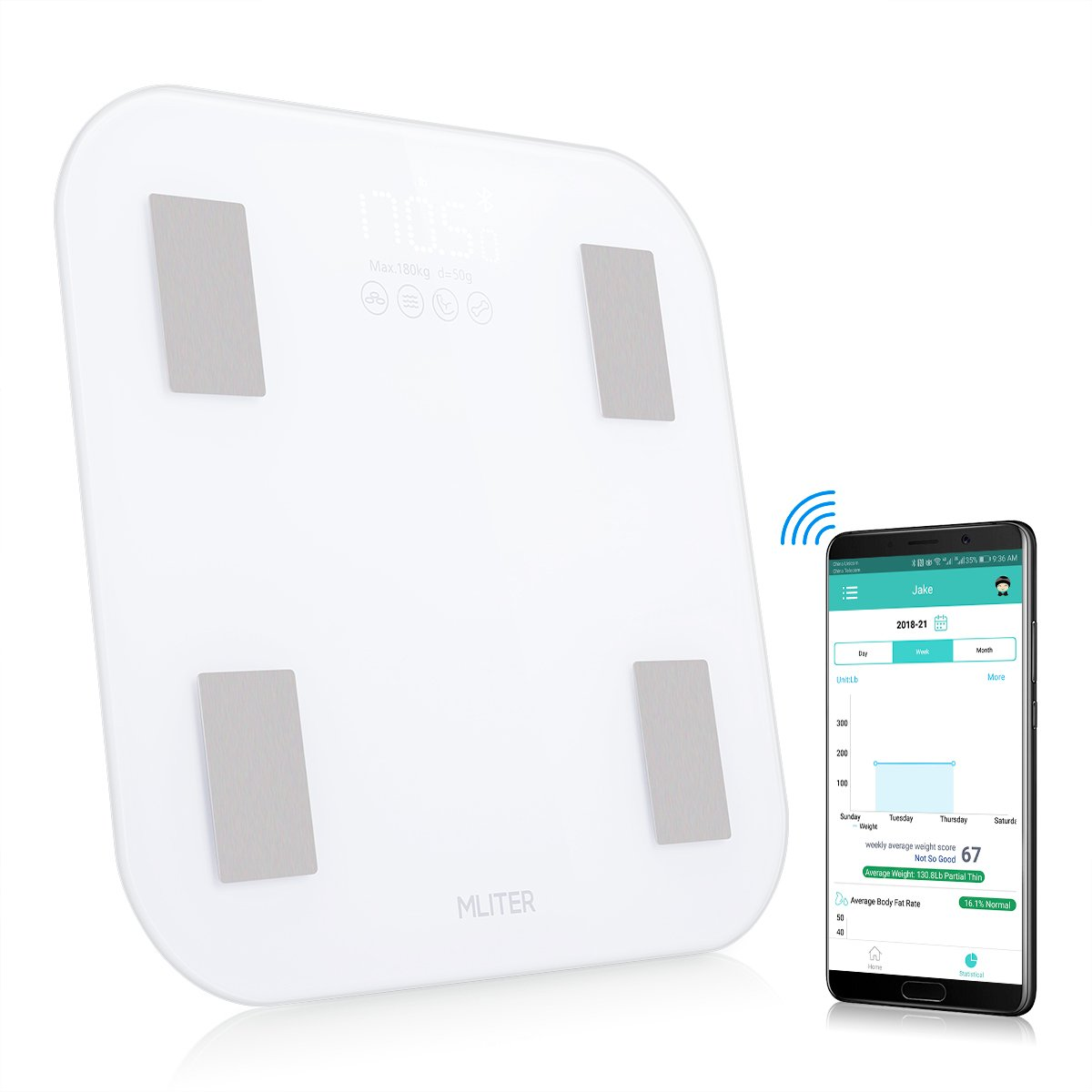 MLITER Accurate Bluetooth Body Fat Scale with 11 Composition Analyzer Supports iOS and Android Health Monitoring App for Weight Water BMI Protein Muscle Rate Measuring - Tempered Glass 180KG White