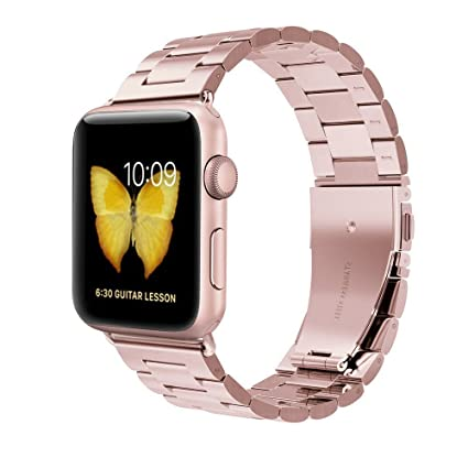 Clever Elegantes Armband Für Apple Watch 38mm Edelstahlarmband Gliederarmband Rosègold Smartwatch-zubehör