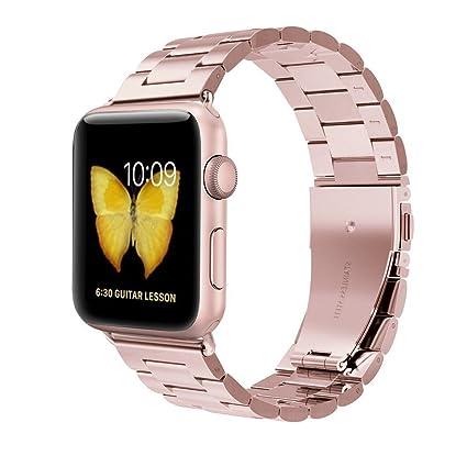 Clever Elegantes Armband Für Apple Watch 38mm Edelstahlarmband Gliederarmband Rosègold Uhrenarmbänder