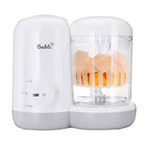 Bable Baby Food Maker Steamer and Blender- 2-in-1 Baby Food Processor Ease to Steam Chop Vegetable Nuts Meat to Puree Soup Juice Mushes, One-Hand Control, Quick Clean, Mini Size with Safe Material