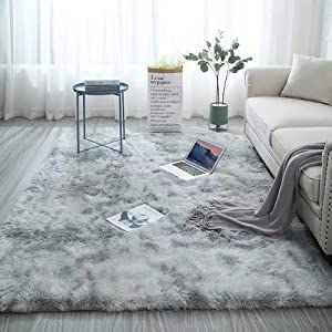 Soft Indoor Modern 4x5.3 Area Rugs Warm Soft Rug for Bedroom Decor Living Room Kitchen Non-Slip Plush Fluffy Comfy Babys Care Crawling Carpet Grey