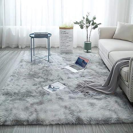 Blivener Ultra Soft Non-Slip Indoor Fluffy Thick Indoor Area Rug for Home  Decor Bedroom Dormitory Rectangle Light Grey 160 x 200 CM