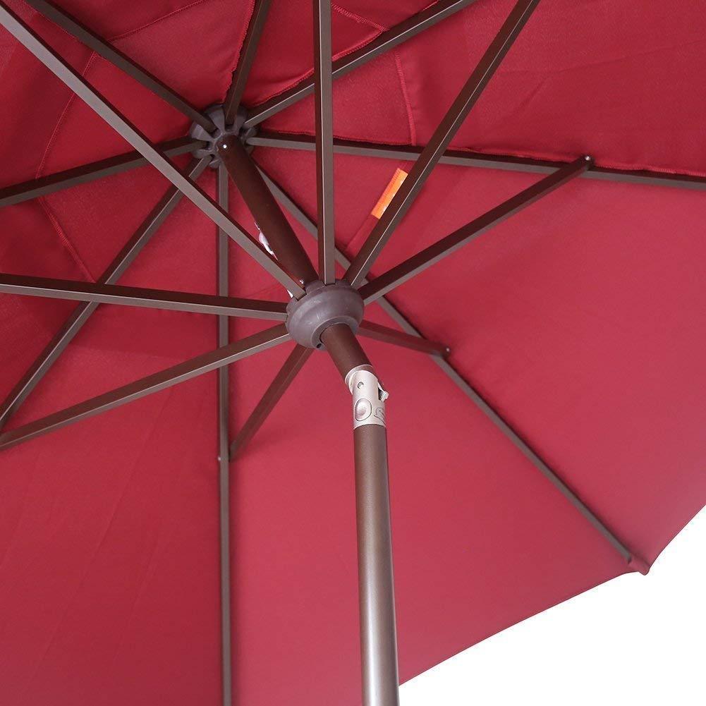 EliteShade 9Ft Market Umbrella Patio Outdoor Aluminum Backyard Table Umbrella (Burgundy) by EliteShade (Image #7)