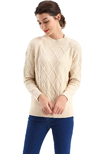 06705f6d11efea BodiLove Women's Classic Fit Crew Neck Diamond Knit Sweater Apricot S(m8007)