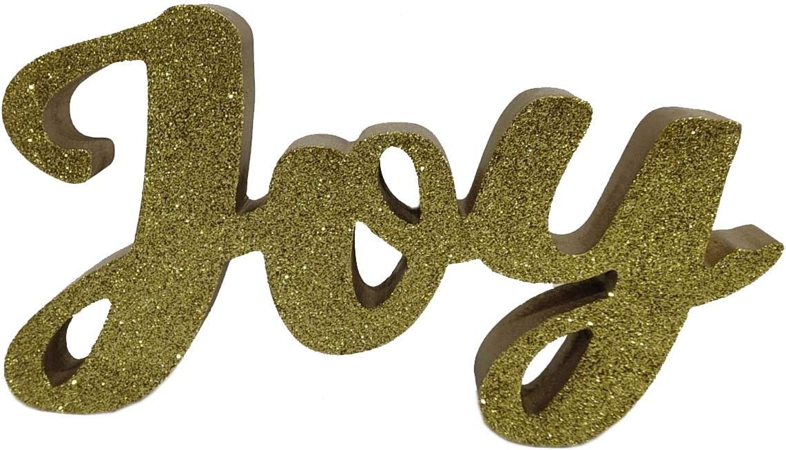 """Windy Hill Collection 9"""" x 5.5"""" x 1.5"""" Joy Glitter Wood Block Freestanding Tabletop Holiday Home Décor (Gold)"""