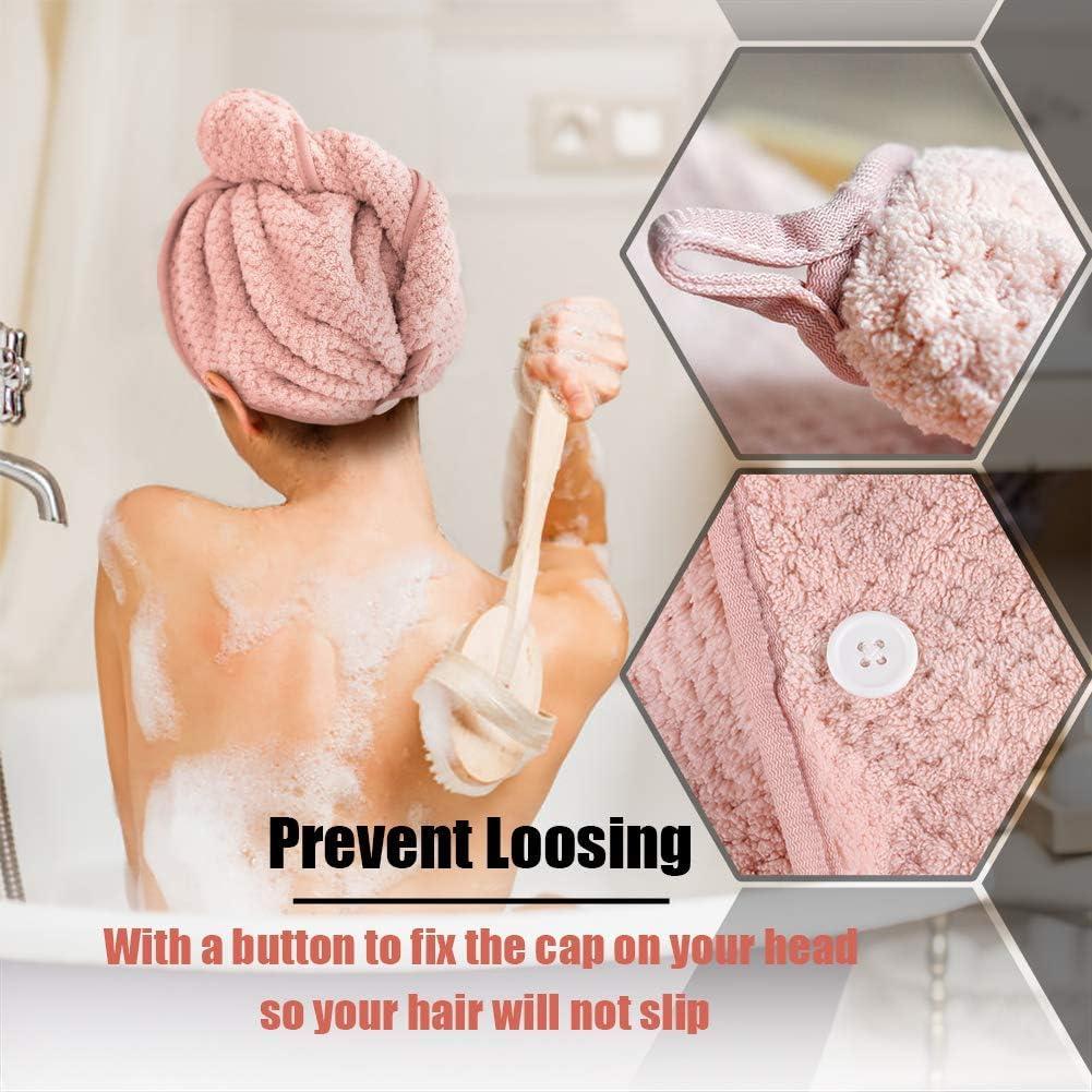 Bianco e caff/è per Donne Queta 3pcs asciugacapelli Asciugamano ad Asciugatura Rapida Turbante per Capelli 3 Pezzi Rosa