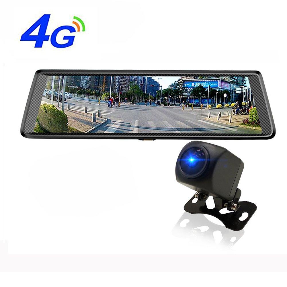 4G車のGPSアンドロイドのWifi車のカメラDVR背面カメラとADAS ブルートゥース 10インチHD 1080Pミラー B07DN91L9R