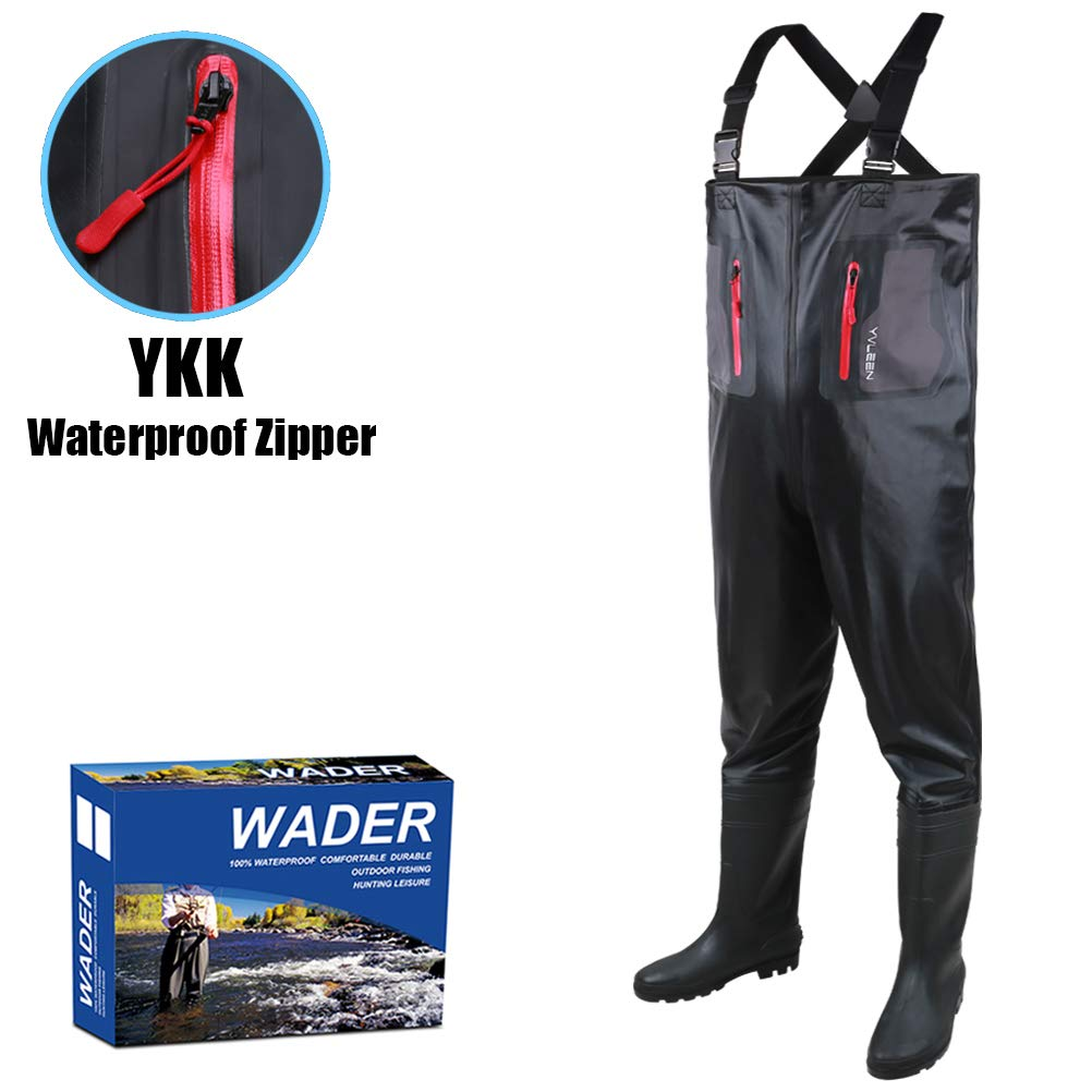 Fishing Chest Waders for Men with Boots – YVLEEN Fly Fishing Waders Boots,100 Waterproof Waders Hunting Waterfowl PPK Bootfoot Wader Size 7-14
